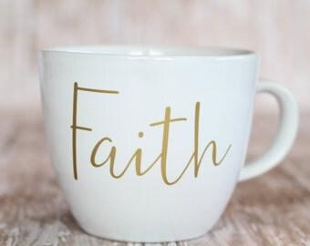 White & Gold Faith Coffee Mug 12 oz.