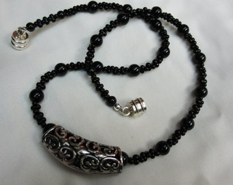 2 for 1 Bold Black and Silver Pendant set on Black Farfalle Beaded 16 Inch Choker Necklace with Sturdy Magnetic Clasp