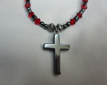 Boys or Girls Unisex Hematite Cross Necklace 15 Inches set on Hematite and Red Crystal Beads and Silver Beads with Sturdy Magnetic Clasp