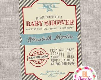 Vintage Airplane Baby Shower Invitation - Digital File