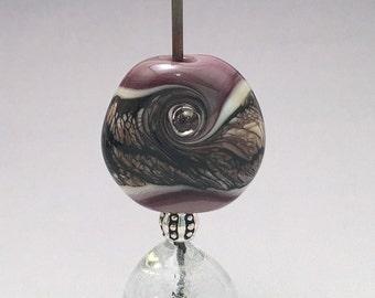 Lampwork Glass Focal Bead - Lampwork Glass Pendant Bead - Purple, Ivory, Black Webbing - Round Organic Glass Bead - Artisan Focal