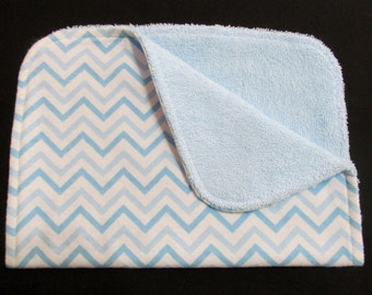 Blue Chevron Burp Cloth, Baby Burp Cloth, Flannel and Terry Cloth Burp Cloth