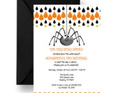 Itsy Bitsy Halloween Birthday Invitations Kids Candy Corn & Spider Party Invites Fun Spooky Celebration Children's 1st DIY or Printed (ITBS)