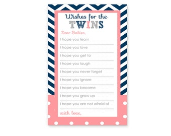 Wishes for Baby Shower Game Printable -- Twins Baby Wish Activity Instant Download -- Navy Chevron Coral Baby Shower Game Card