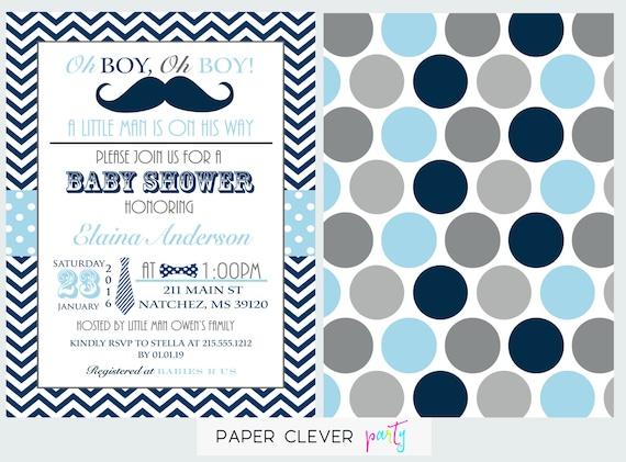 navy boys baby shower invitation mustache & bow tie little, Baby shower invitations