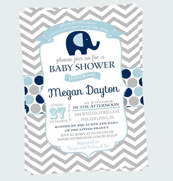 Navy Elephant Baby Shower Invitation Boys Grey Chevron Jungle Sprinkle Printable or Printed Personalized Cute Celebration Personalized