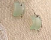 Coca Cola Bottle Glass & Sterling Earrings.  FREE SHIPPING