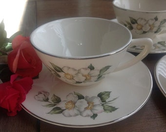 Four Pretty Vintage Dogwood Cup and Saucers