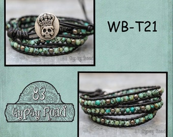 WB-T21 triple beaded wrap bracelet - black leather with jade and gunmetal mix