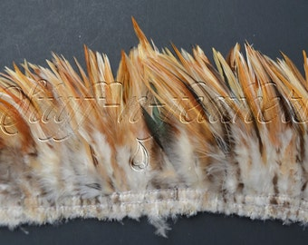 Wholesale / bulk feathers - Natural Rooster SADDLE feathers, ginger brown ivory feathers for millinery, crafts, strung 10 in (25 cm)/FB180-4