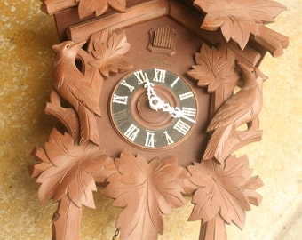 Spring Sale - Vintage German Black Forest Cuckoo Clock, Working Condition, 8 Day Clock, Henry Coeler