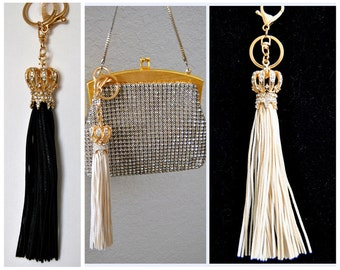 CURRENT TREND Crown Tassel Bag Accent, Leather Key Chain, Fringe Dome Pave Key Fob, Gifts for her, Flapper, French, Art deco, 1960s