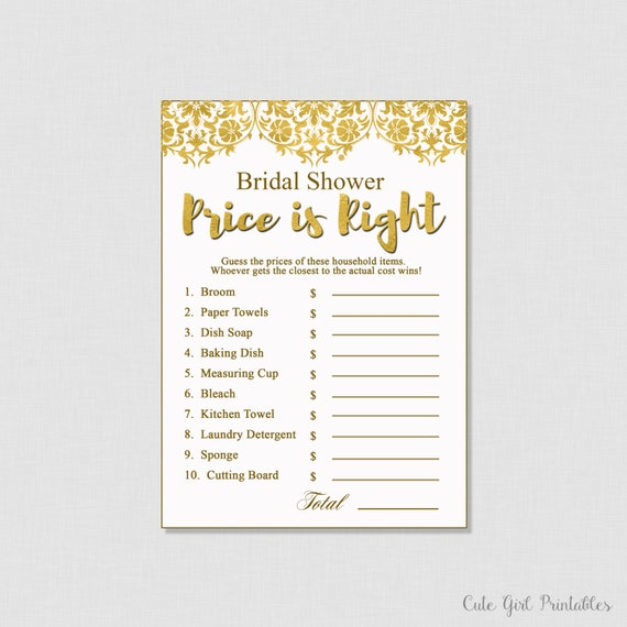 price is right bridal shower game template - bridal shower games price is right game by cutegirlprintables