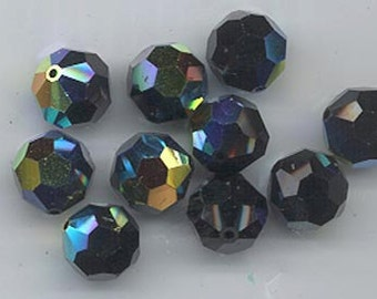 24 gorgeous Swarovski crystals - art 5000 - 6 mm - jet AB