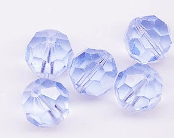 Wow - four super-rare vintage Swarovski crystal beads -- Art. 5000 - 18 mm - light sapphire A