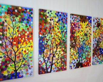 """48"""" Large Abstract Fantasy Tree Painting Modern Contemporary Tree Art Colorful Surreal Over the Couch Bed Dining Room 24x48 JMichael"""