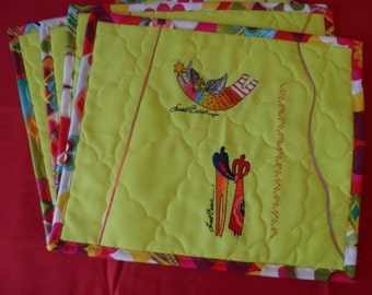 Laurel Burch Place Mats - Table Place Mats - Dinner Place Mats - Dinning Place Mats - Embroidered Place Mats - Cotton Place Mats
