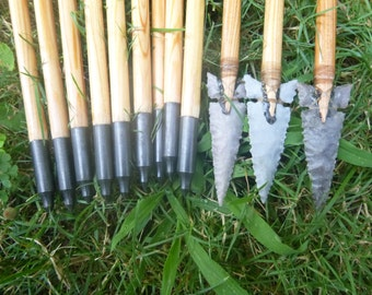 Primitive Hunter Arrows, 70-75lb, one dozen (12) arrows, mixed set, traditional wood archery arrows, stone arrow heads