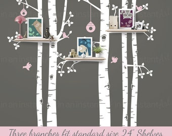 Birch Tree Wall Decal | Birch Shelving Tree | Tree Wall Decals for Nursery | Easy Application 147