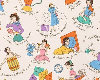 Robert Kaufman - Just One of Those Days -Retro Ladies -  Cream - Novelty Fabric - Choose Your Cut Full or Half Yard