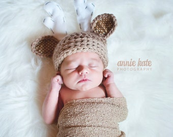 newborn boy hat, deer hat, newborn deer hat, baby boy hat, crochet deer hat, baby deer hat