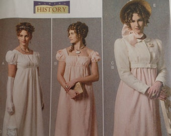 Butterick 6074 Misses Making History Dress Costume Jacket Purse Hat Trim  Pattern Sizes 6-14 New FF UNCUT