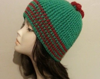Crocheted Beanie Hat - Crochet Beanie Hat - Christmas Beanie Hat - Winter Hat - FREE UK delivery