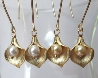Cala Lily Gold Plated Earrings with Swarovski Pearls