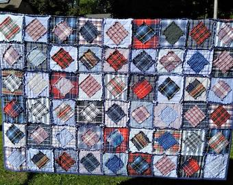 "THROW Red, Blue & Navy Blue Rag Quilt Handmade Recycled Fabrics 62"" x 62"""