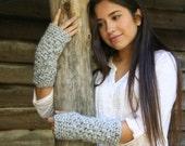 Fingerless Gloves Crochet Textured Wrist Warmers The Elkmont Gloves in Gray Marble
