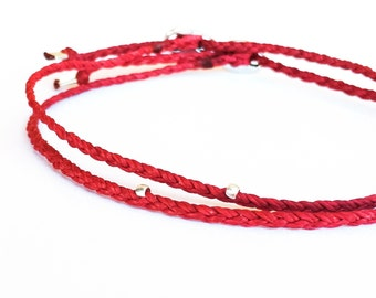 Beadstheater braided friendship bracelet in waxed cord - red bracelet