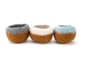 WOOLY FELTED BOWLS - 3 felted bowls - camel brown/burnt brown natural, grey, blue 3
