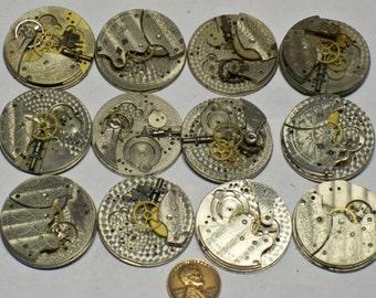 12 partial Waltham 6s pocket watch movments damaskeening E-383