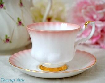 ON SALE Royal Albert Pink Rainbow Teacup and Saucer, English Bone China Tea Cup Set, Wedding Gift, Wedding Shower,  ca. 1950
