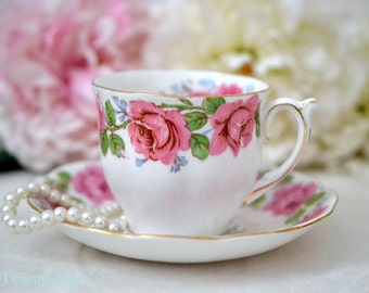 MISMATCHED Queen Anne/Bell China  Lady Alexander Rose Teacup and Saucer, English Bone China Tea Cup And Saucer, Wedding Gift, ca. 1940-1966