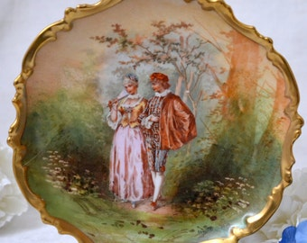 Limoges L.R.L Limoges Hanging Wall Charger Plate, French Porcelain Wall Plate, Cabinet Plate, Romantic Courting Couple, ca. 1920