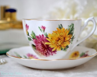 Vintage Queen Anne Teacup and Saucer With Large Red And Yellow Flowers,  English Bone China Tea Cup Set, Replacement China, ca 1940-1960