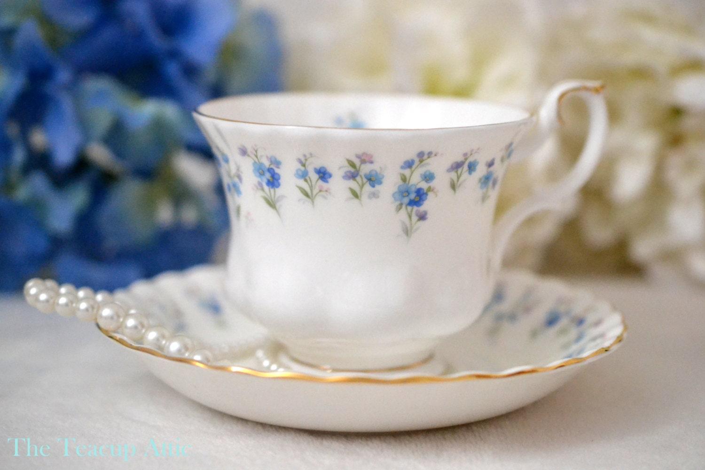ON SALE Royal Albert Teacup and Saucer Memory Lane, Bone China English Tea Cup Set, Blue Flowers, ca 1964