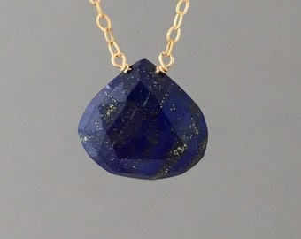 Medium Lapis Stone Gold Fill Necklace also in Sterling Silver and Rose Gold