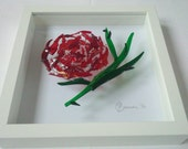 Red Rose in Fused Glass - Framed Glass Art