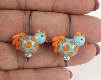 Cute little handmade glass lampwork chicken beads. earring bead pair. SRA
