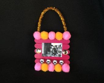 Pink and Orange Frida Kahlo and Diego Rivera Pom Pom Wooden Ornament