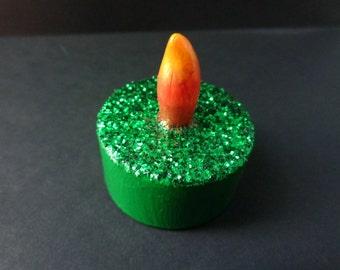 Green Glitter Altered Flameless Tea Light Candle