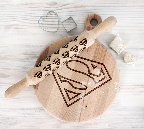 Comic Superhero cutting board and rolling pin - Superman Wooden Laser Engraved - Personalized Engraved
