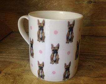 French bulldog mug, frenchie, bone china, for dog lovers, for french bulldog lovers , for tea drinkers