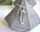 clear crystal pendant-  silver chain necklace - womens jewellery -silver jewellery