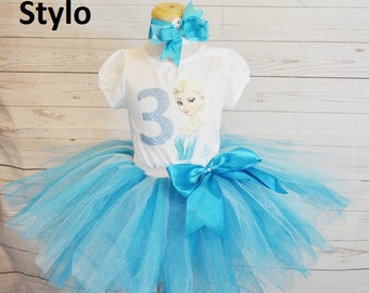 frozen birthday outfit,  birthday outfit,birthday girl outfit, elsa birthday tutu,colorful tutu,girl birthday outfit