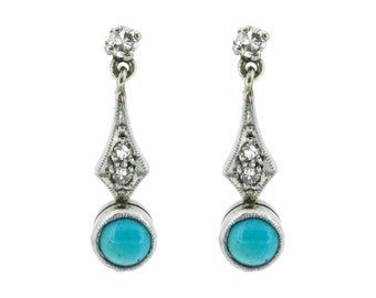 The Deco Turquoise Earrings - 9ct White Gold Diamond Earrings