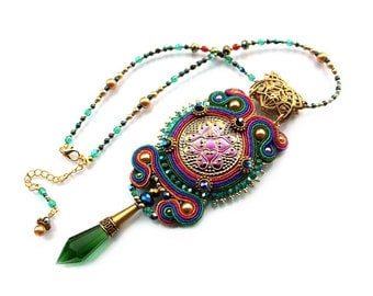 HIT! - Soutache pendant very elegant, eyecatching and shinny - CZECH TREASURES - Lux 2 Multicolor