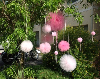 Set (14) tulle Pom with extra ribbons for weddings birthday parties baby showers and more